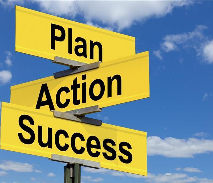 A set of road signs with the words Plan, Action, and Success on them.