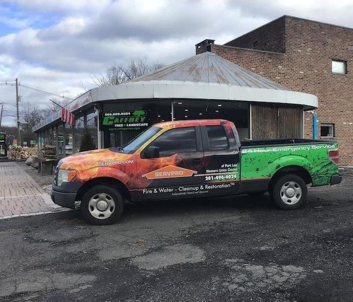 SERVPRO truck parked outside of business