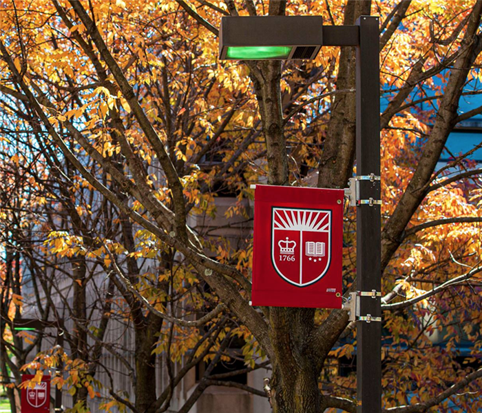 Fall leaves with a university sign.