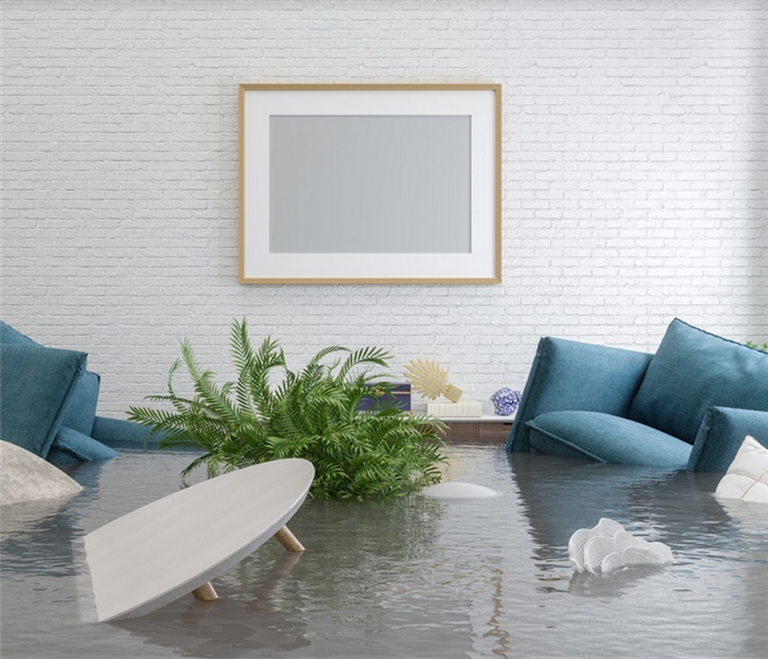 flooded living room with floating furniture